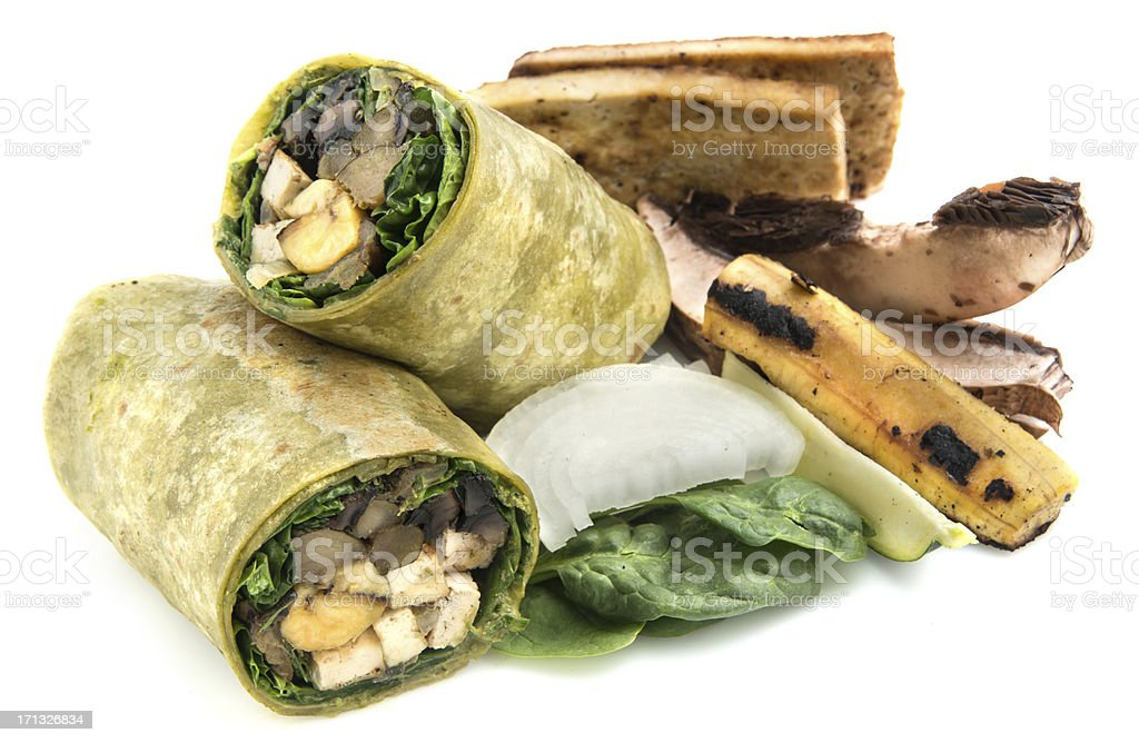 Vegan Wrap Sandwich with All its Ingredients on the side stock photo