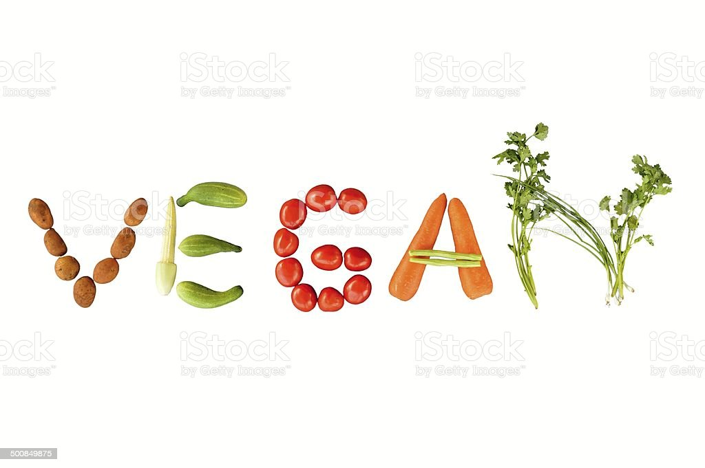 Vegan writing stock photo