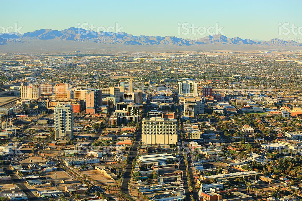Vegas Downtown Golden Hour stock photo
