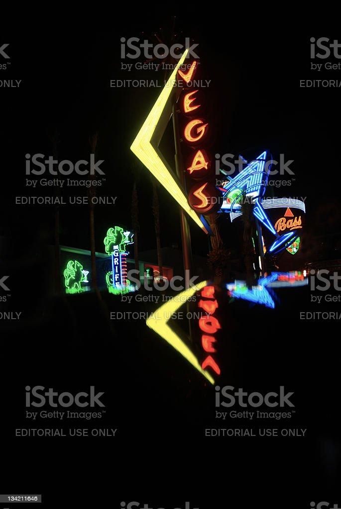Vegas neon lights stock photo
