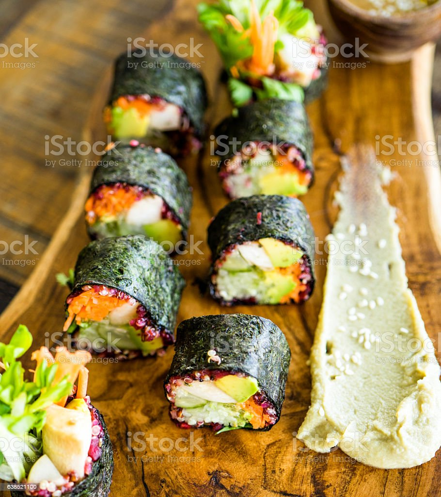Vegerarian nori rolls stock photo