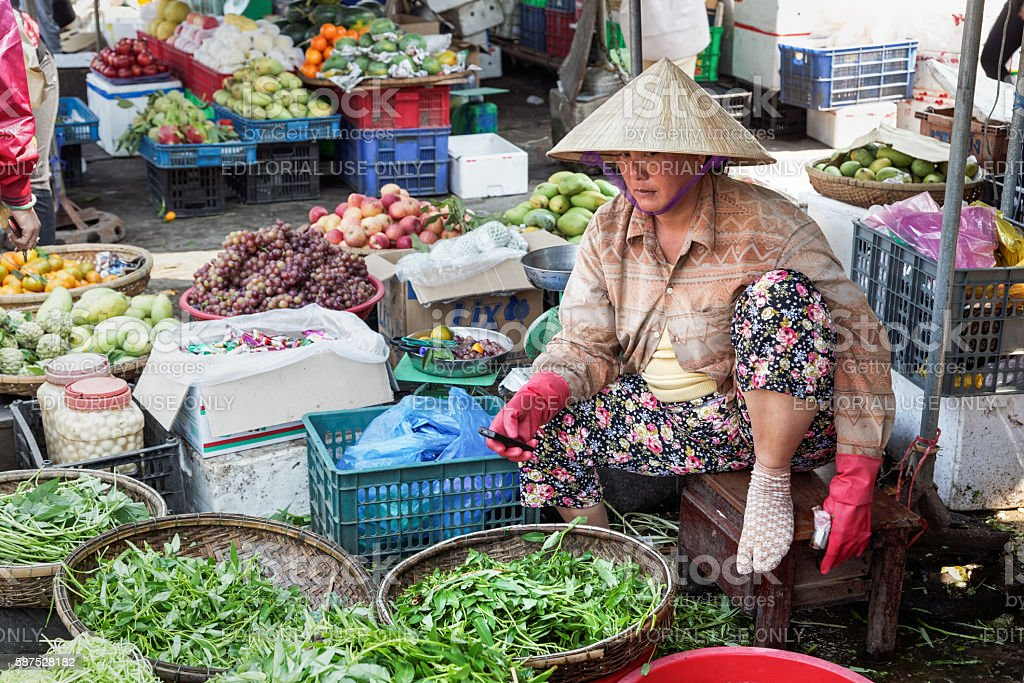 Vegestables sold in the market in Hue stock photo