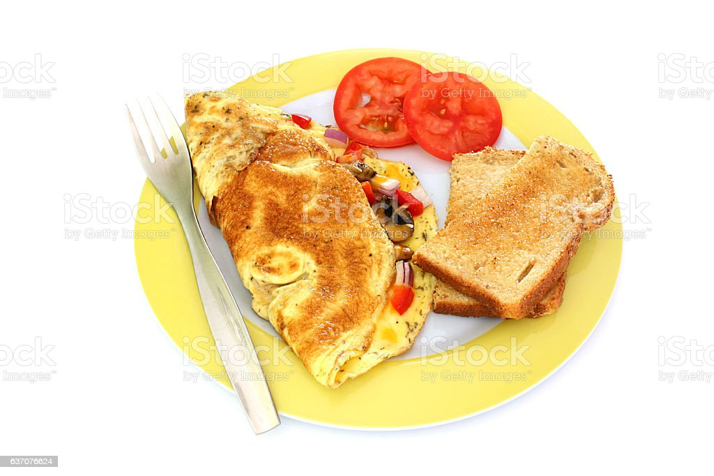 Vegetable and Cheese Omelette With Toast stock photo