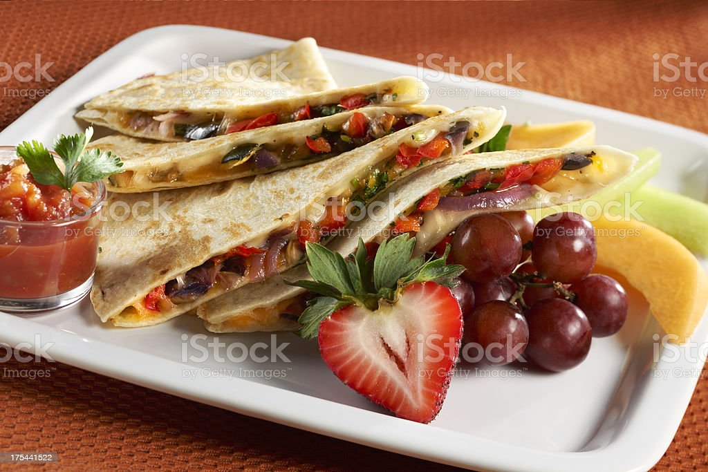 vegetable and Cheese Quesadilla royalty-free stock photo
