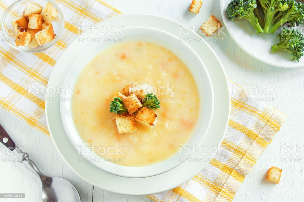 Vegetable and cheese soup stock photo