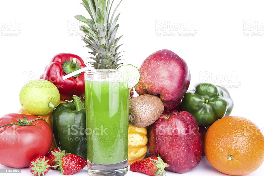 vegetable and fruit juice isolated on white background royalty-free stock photo