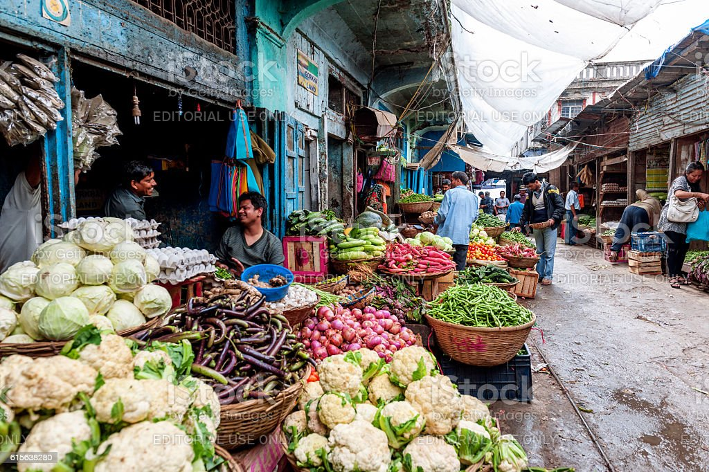 Vegetable and Fruit Market in Darjeeling,West Bengal, India stock photo