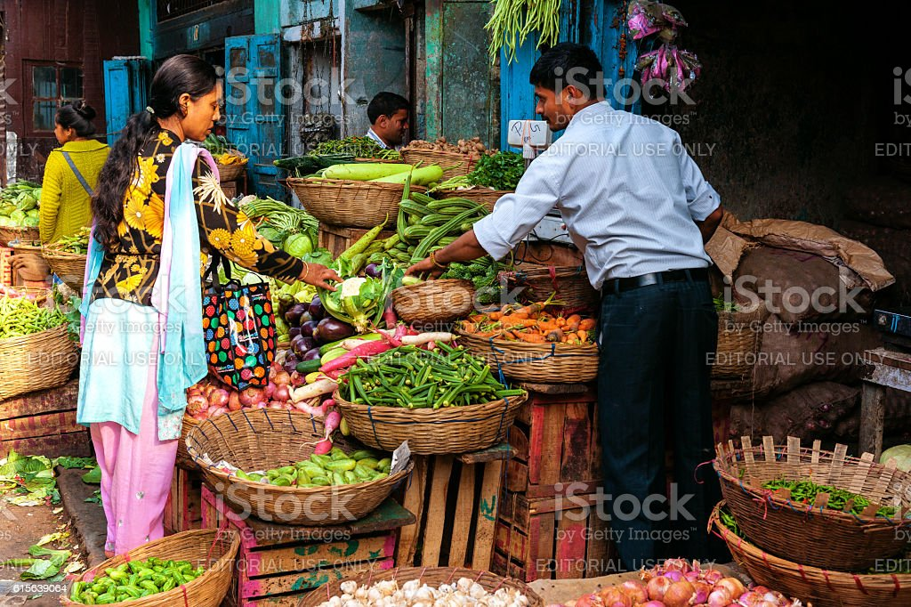 Vegetable and Fruit Market in Darjeeling,West Bengal, India stock photo