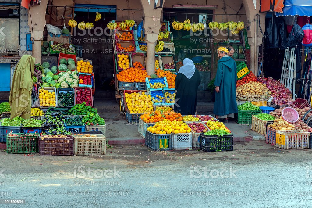 Vegetable and Fruit Market inTafraoute ,Morocco,North Africa stock photo