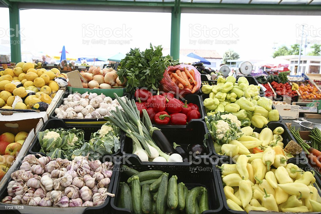 Vegetable and fruits stall royalty-free stock photo