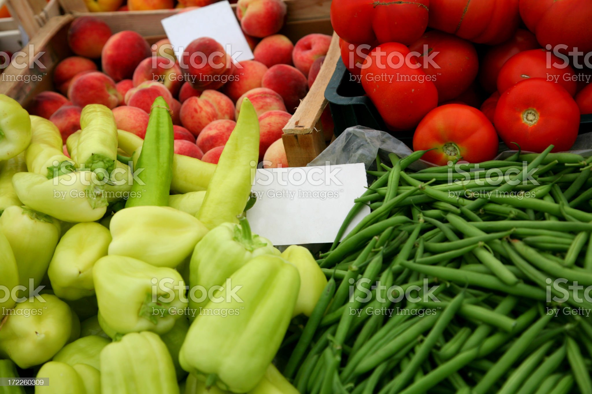 Vegetable and fruits stall with price tags royalty-free stock photo