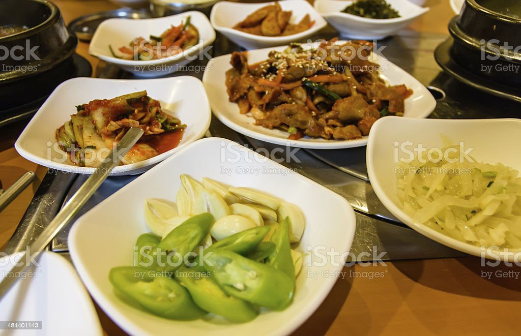 vegetable and grill meat set stock photo