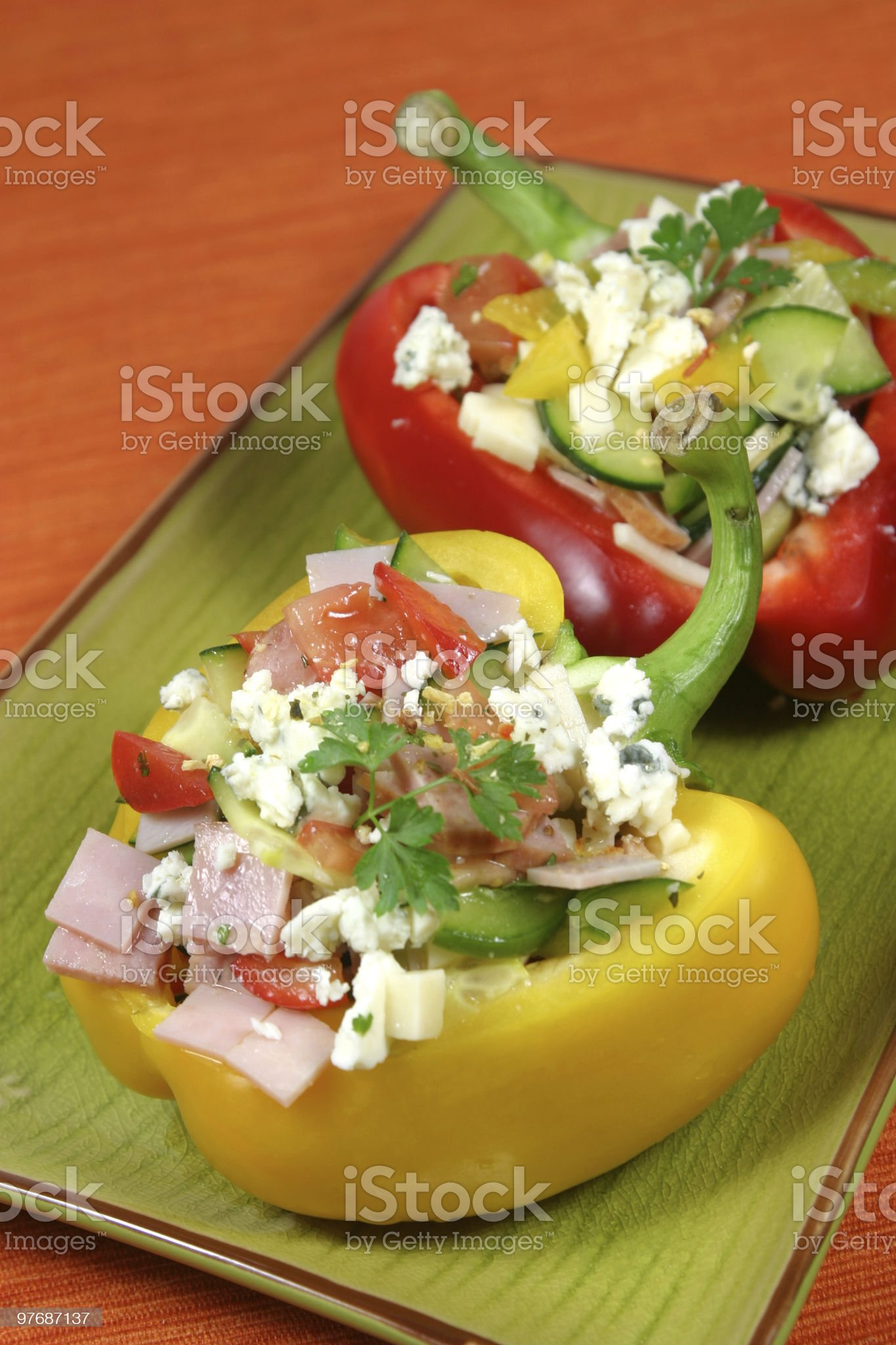 Vegetable and ham salad royalty-free stock photo