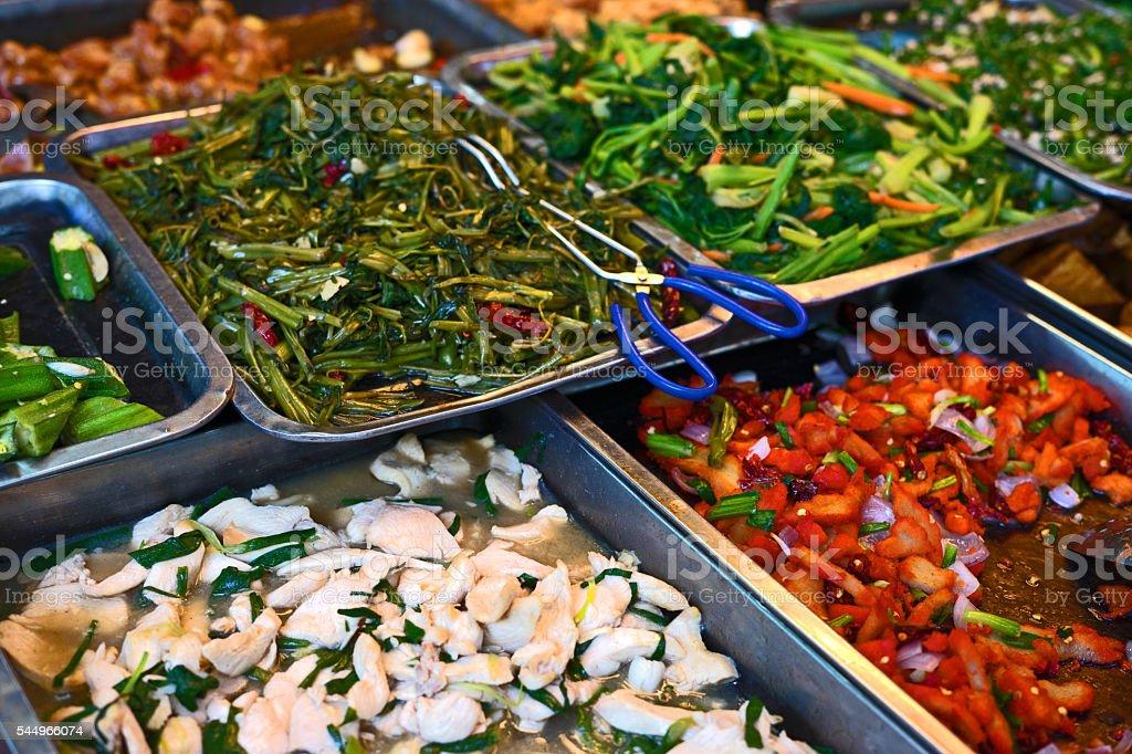 Vegetable and Meat Chinese Food Buffet in Kuala Lumpur Malaysia stock photo