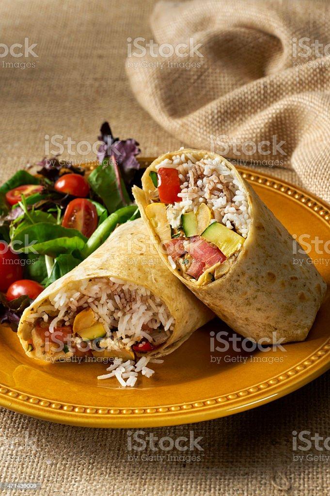 Vegetable and Rice Sandwich Wrap Burrito stock photo