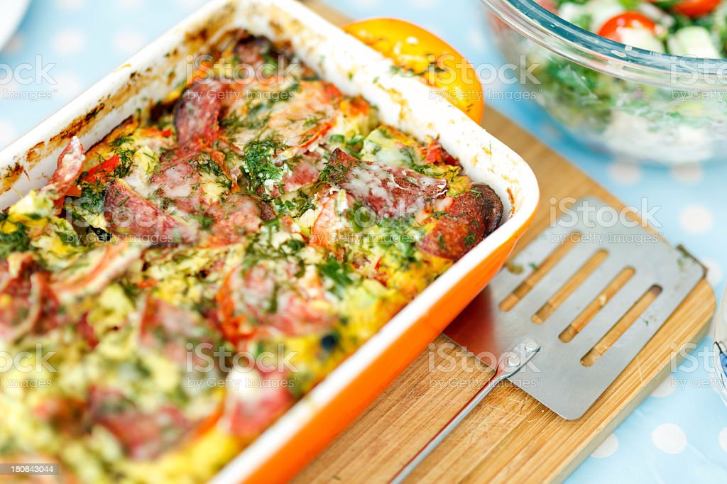 Vegetable And Salami Frittata royalty-free stock photo