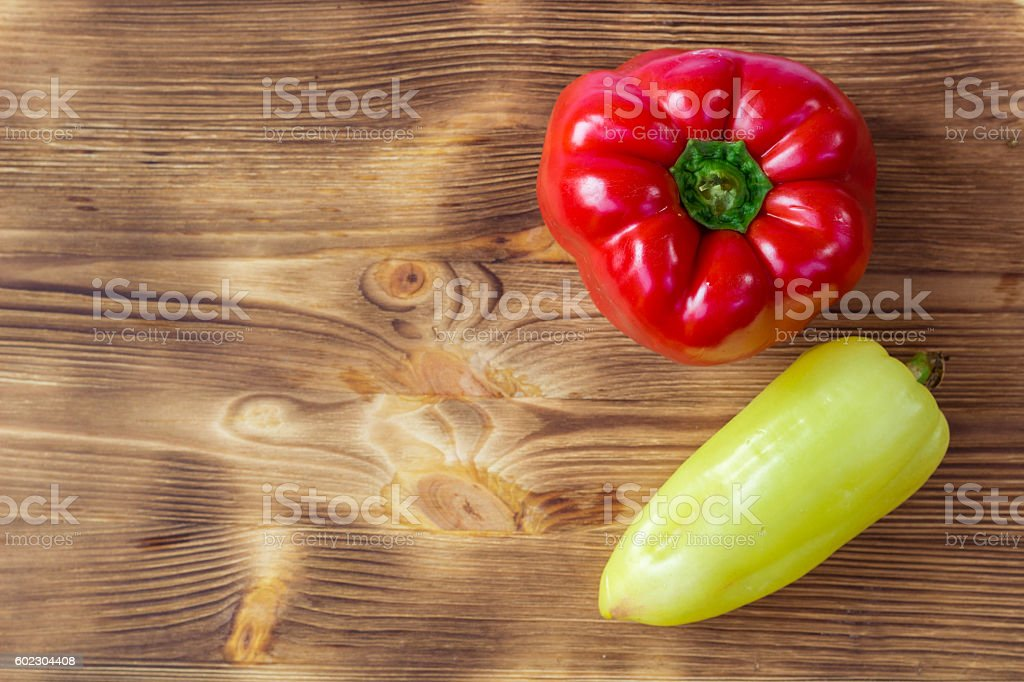 Vegetable background for postcard with red and green peppers stock photo