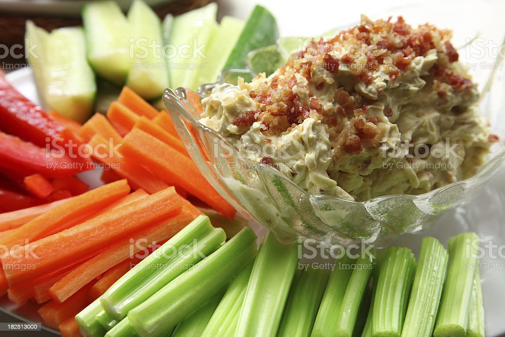 Vegetable Bacon Cheese Dip stock photo