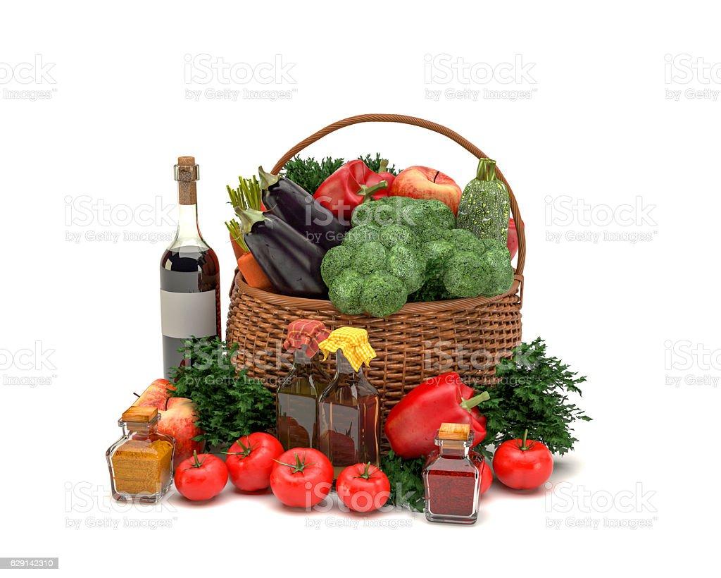 Vegetable Basket Isolated on White Background stock photo