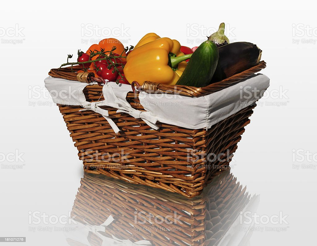Vegetable basket on a reflective surface stock photo