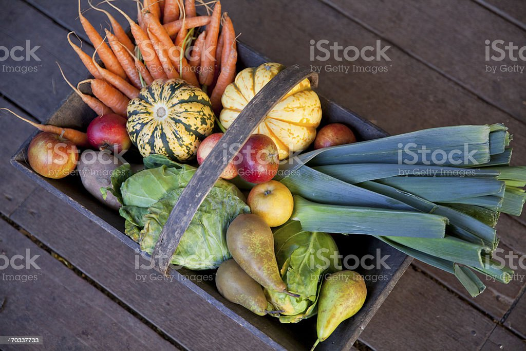 Vegetable basket, top view stock photo