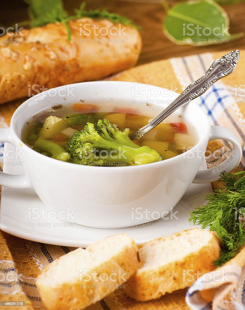 Vegetable broccoli soup and carrots royalty-free stock photo