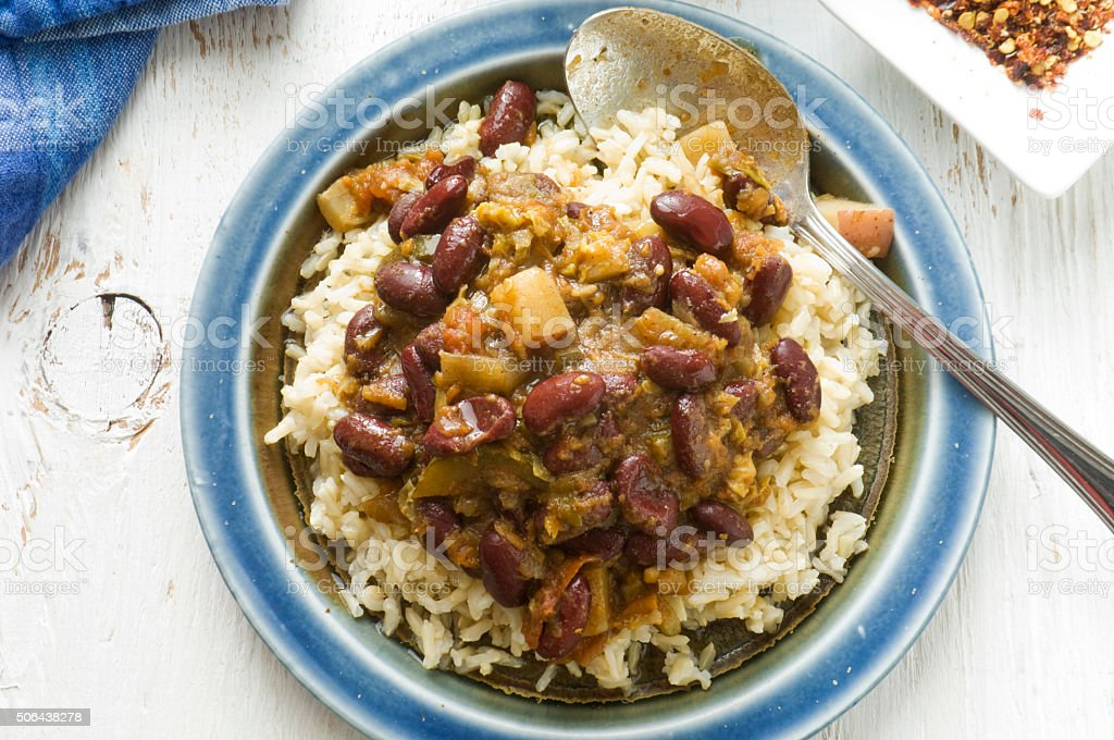 Vegetable Chili Stew on Bed of Brown Rice stock photo