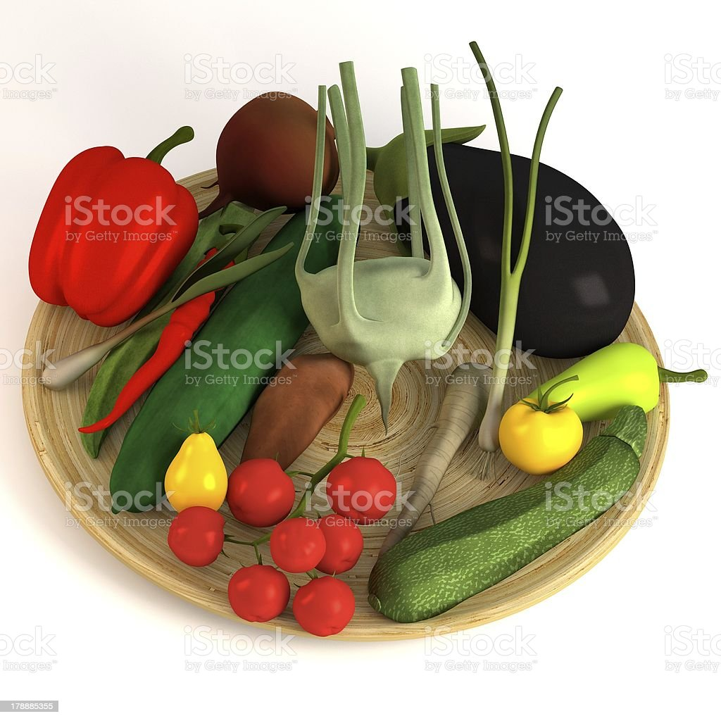 vegetable collection on plate royalty-free stock photo