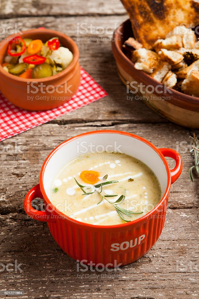 Vegetable cream soup with broccoli stock photo