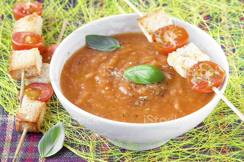 Vegetable cream soup with tomato and toast royalty-free stock photo