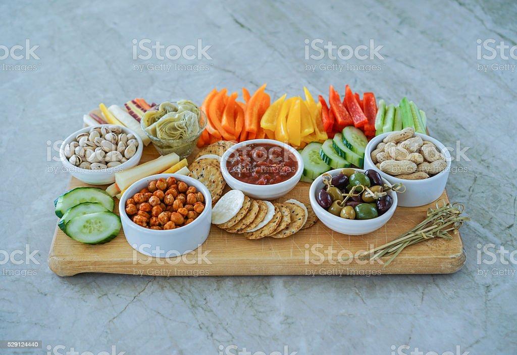 Vegetable Crudites and Dips/ vegetable platter, healthy eating stock photo