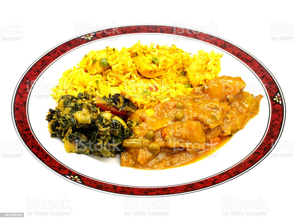 Vegetable Curry with Chicken Biryani Take Away Meal stock photo