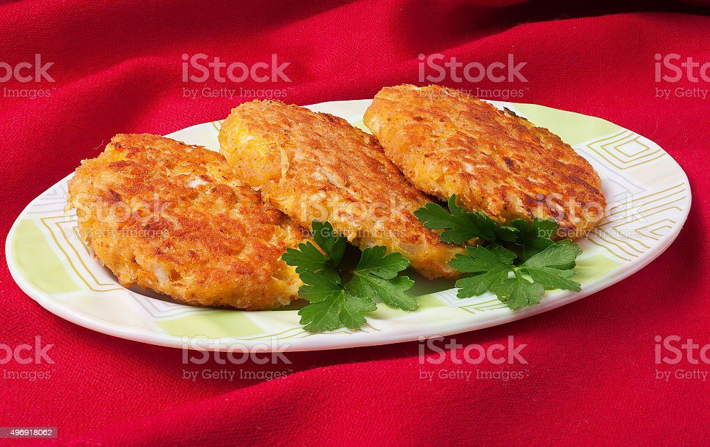 vegetable cutlets with cabbage stock photo