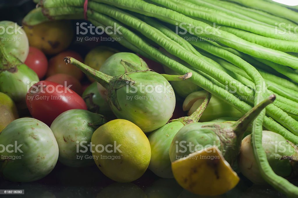 Vegetable for papaya salad. Som tum. Thai food. stock photo