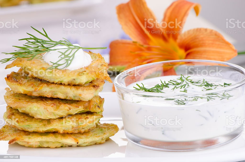 vegetable fritters of zucchini stock photo