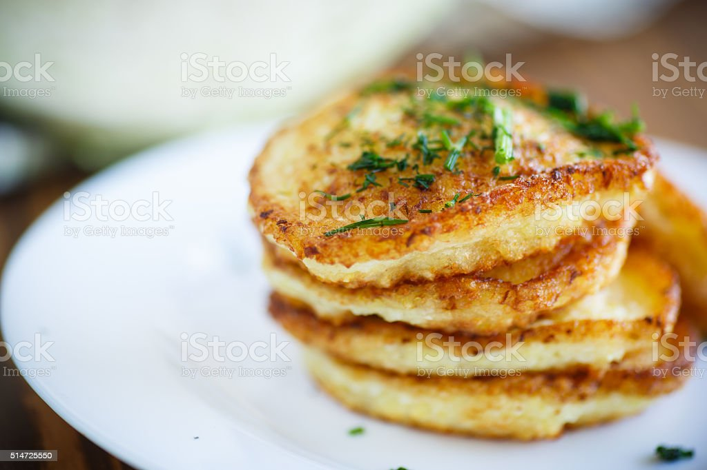Vegetable fritters with cabbage and dill stock photo