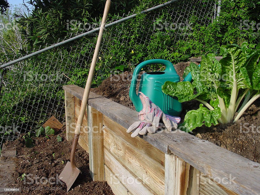 Vegetable garden retaining wall royalty-free stock photo