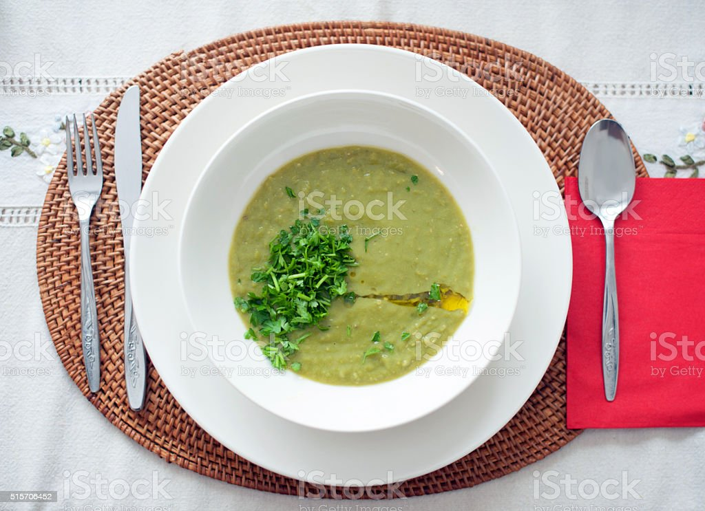 Vegetable green soup stock photo