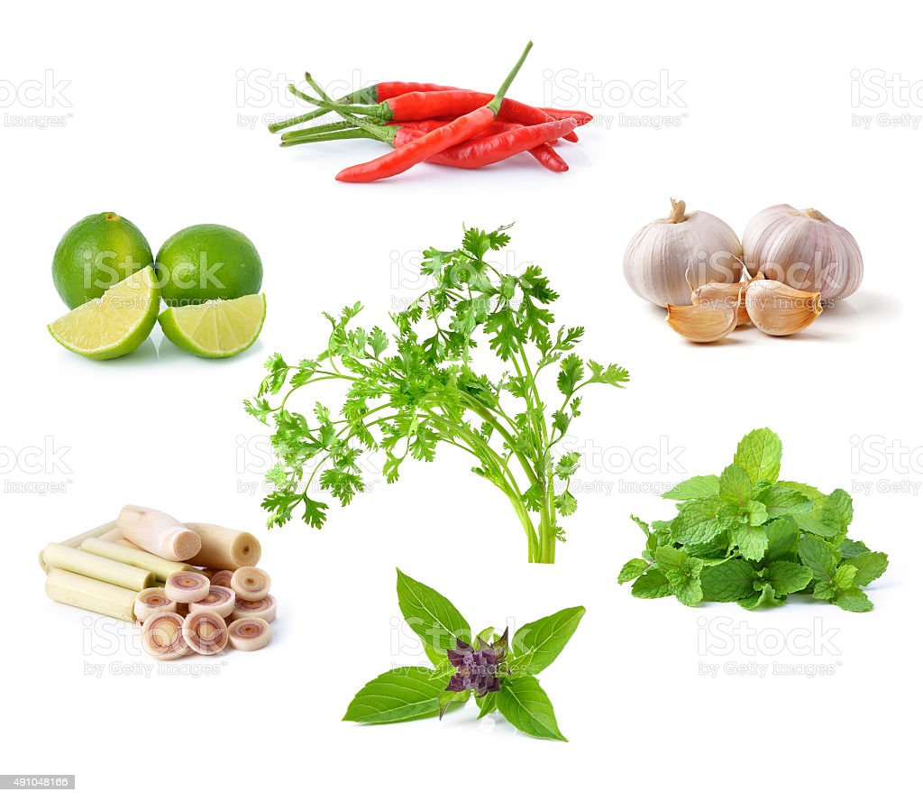 vegetable, herb, spices isolated on white background stock photo