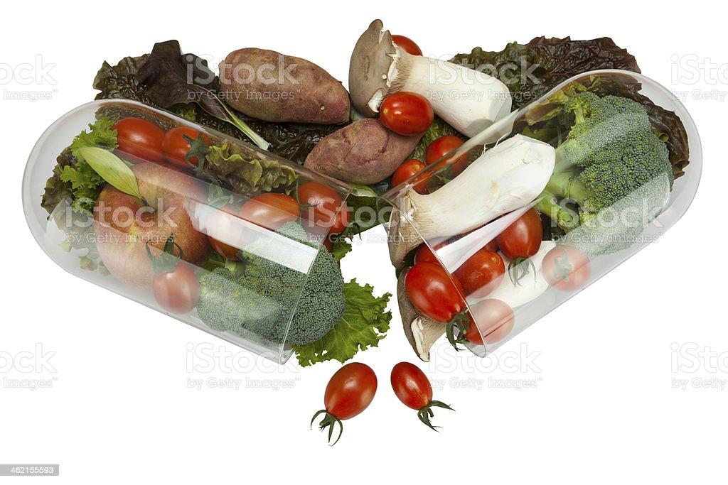 vegetable in capsule stock photo