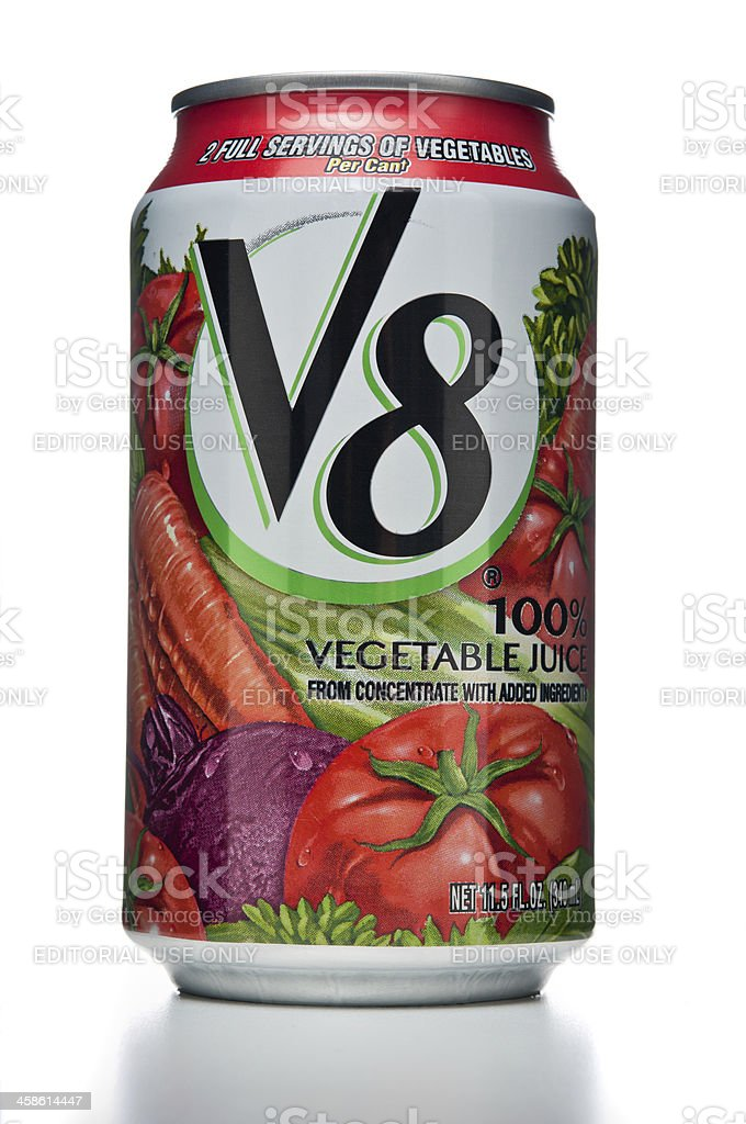 V8 Vegetable Juice can stock photo