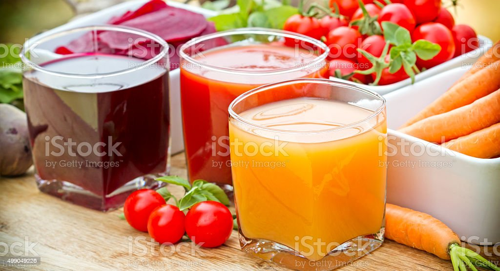 Vegetable juices - healthy drinks stock photo