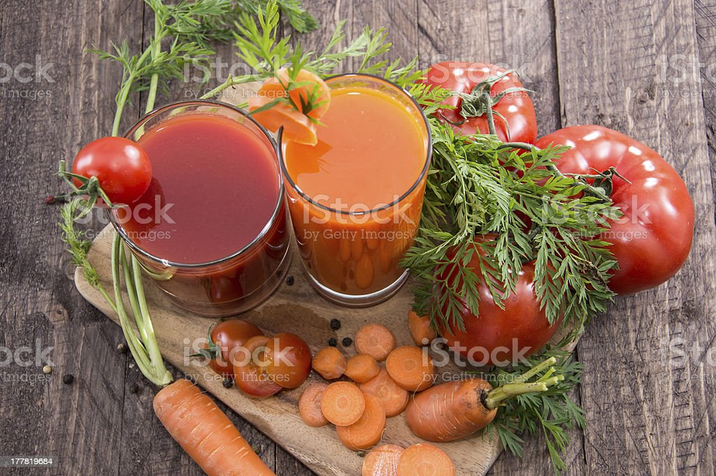 Vegetable Juices with ingredients stock photo