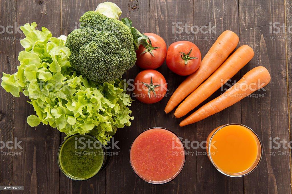 Vegetable juices&smoothie with fresh ingredie. stock photo