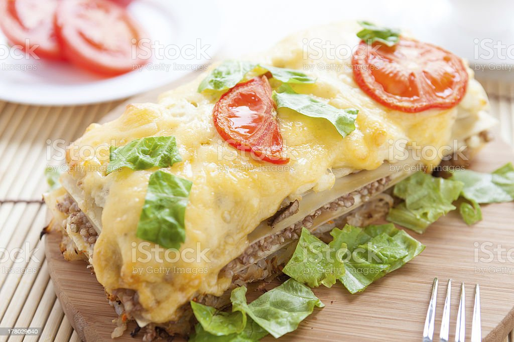 vegetable lasagna with buckwheat and cheese royalty-free stock photo