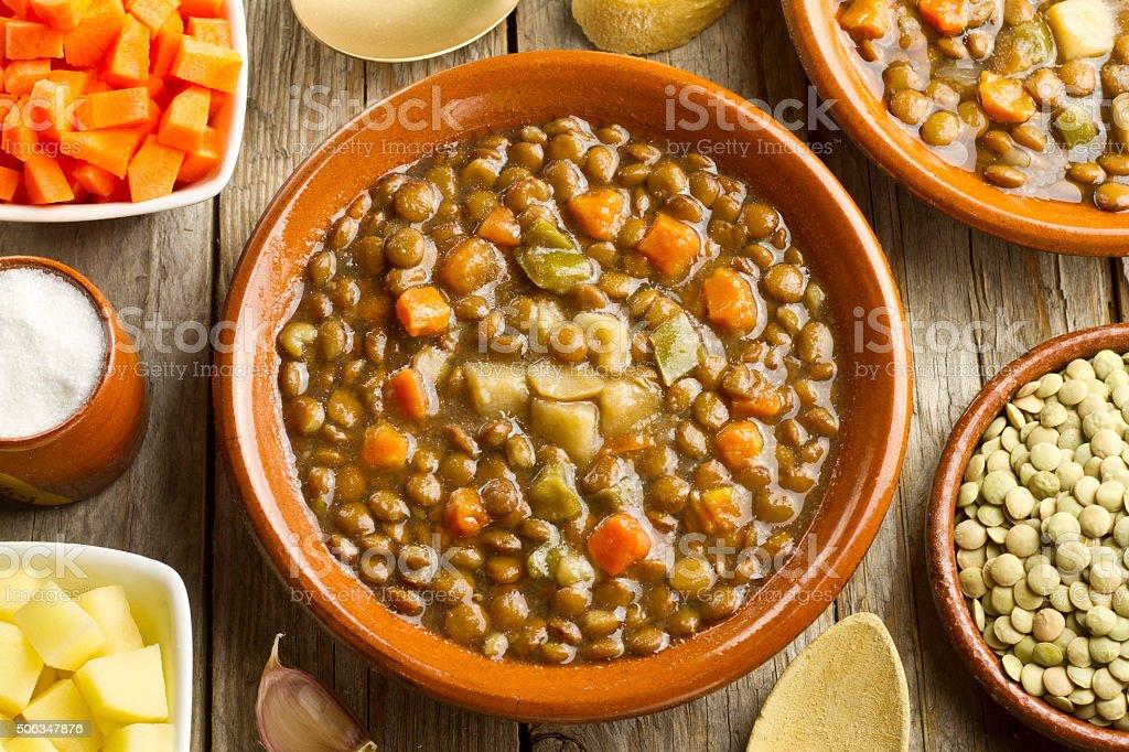 Vegetable lentil soup stock photo