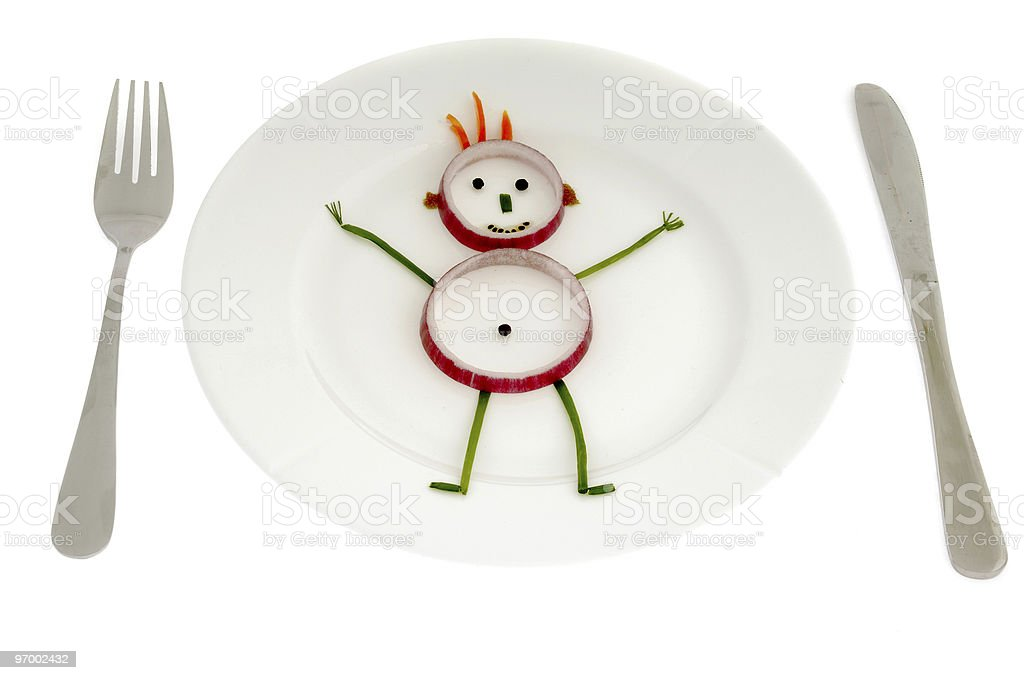 Vegetable man on dish royalty-free stock photo