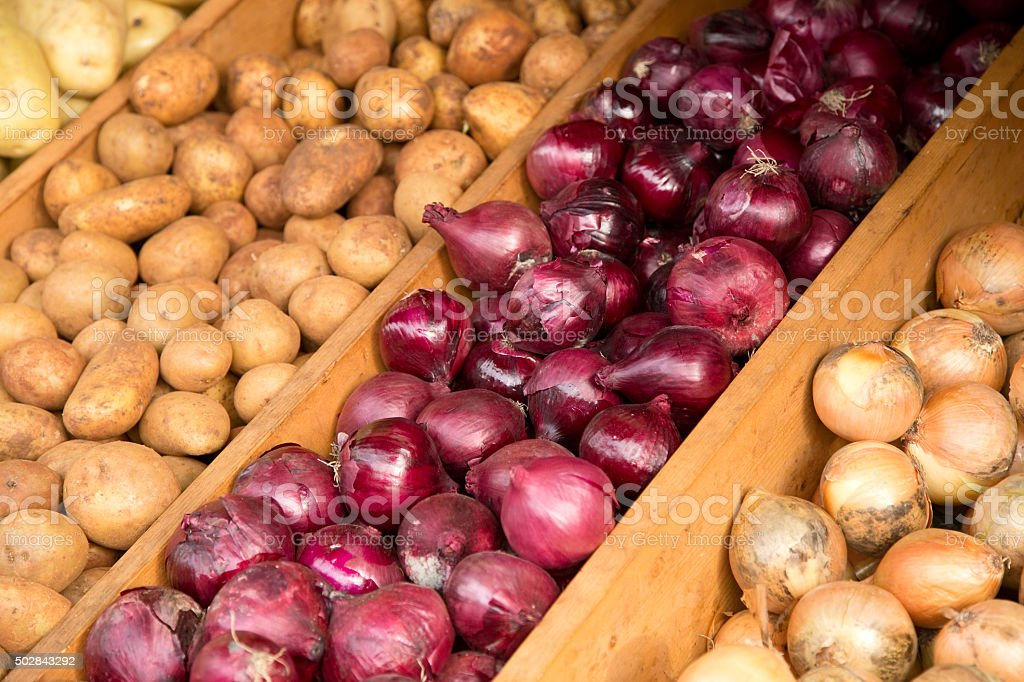 vegetable market display stock photo