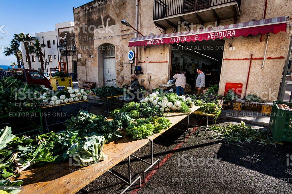 Vegetable market in Castellammare del Golfo stock photo
