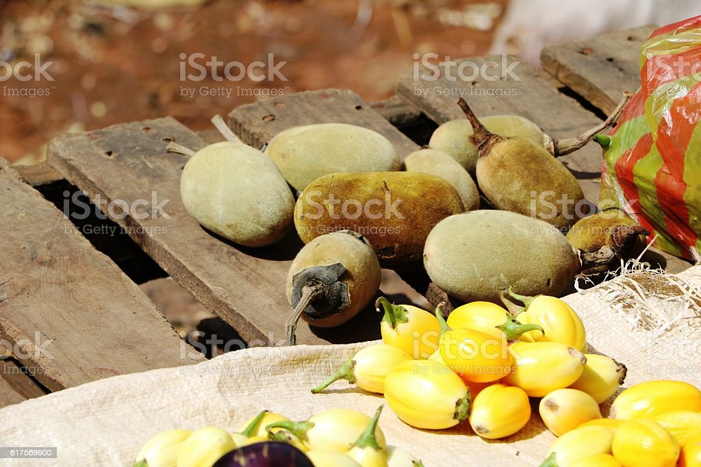 Vegetable market in Zambia, Africa stock photo